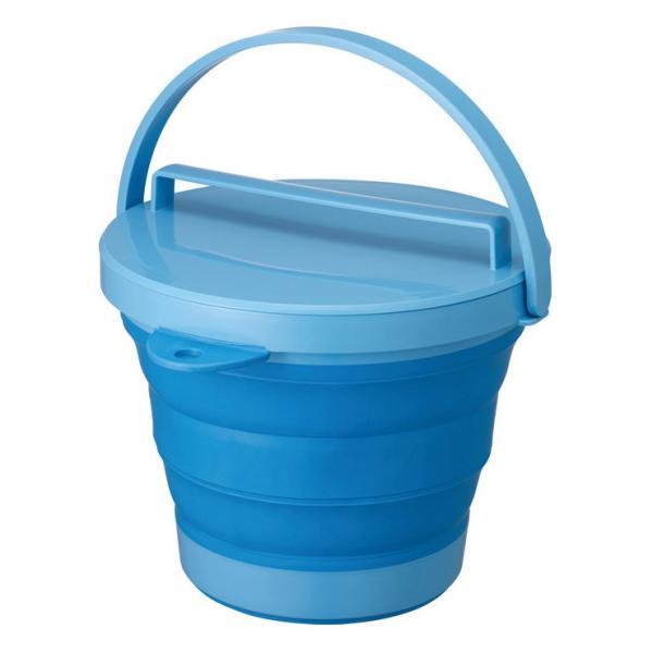 折りたたみ SOFT BUCKET8型 ソフトバケツ フタ付き 8L ブルー 伊勢藤 バケツ たらい 桶 バスケット コンパクト 折り畳み
