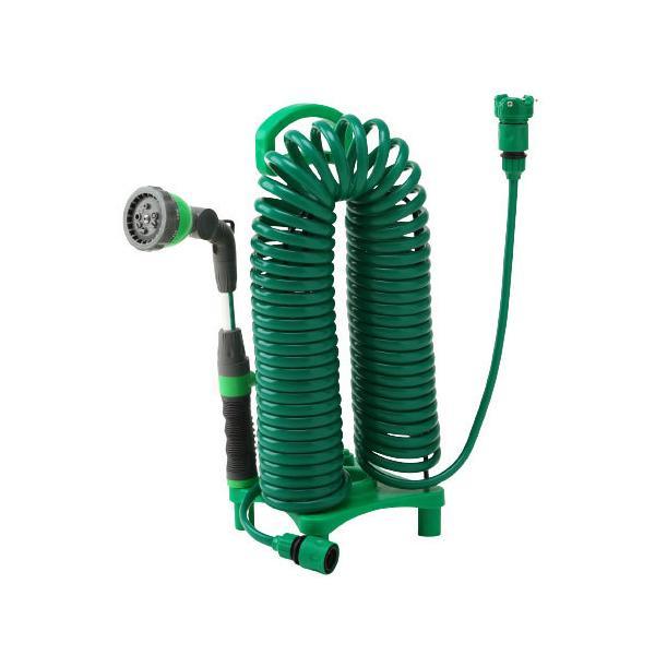 散水ホース 首振りガーデンコイルホース スタンドセット 巻き取り不要 ガーデニング 園芸 洗車 花壇 プランター 水やり 代引不可