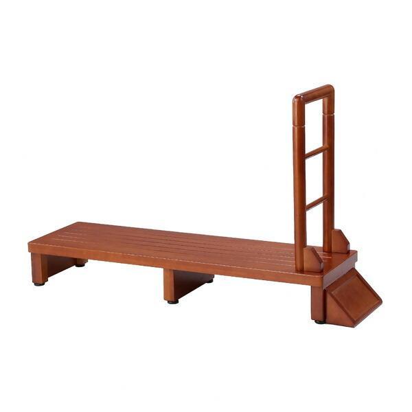 手すり付き玄関台 幅120cm 手すり ステップ 台 玄関 段差 踏み台 木製 昇降 足場 代引不可