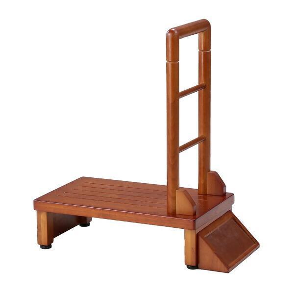 手すり付き玄関台 幅60cm 手すり ステップ 台 玄関 段差 踏み台 木製 昇降 足場 代引不可