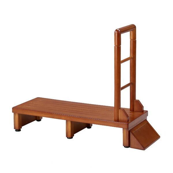 手すり付き玄関台 幅90cm 手すり ステップ 台 玄関 段差 踏み台 木製 昇降 足場 代引不可