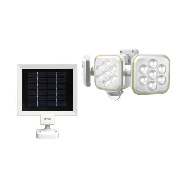 LEDセンサーライト ムサシ RITEX ライテックス S-90L ソーラー式 5W×3灯 明るさ1400ルーメン フリーアーム式 人感センサーライト 屋外 防犯グッズ