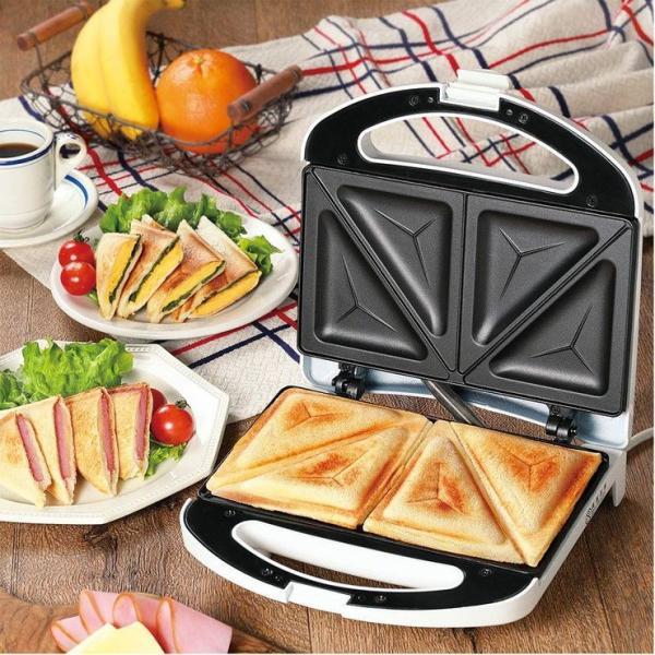 WホットサンドメーカーKDHS-007W両面焼き食パンプレスサンドメーカーホットサンドパン焼き朝食サンドウィッチ