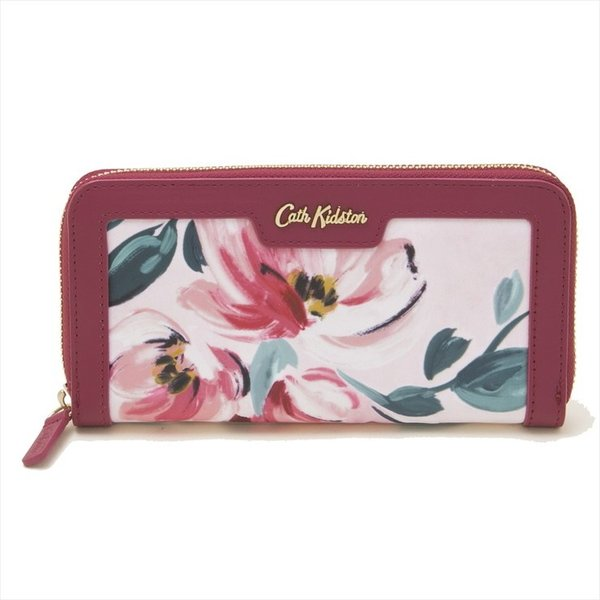 Cath Kidston ラウンドファスナー長財布 Aster Wallet 784115 レディース Paintbox Flowers Soft Pink ピンクフラワー柄
