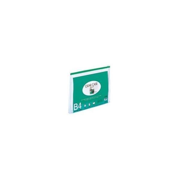 (業務用10セット) LIHITLAB クリアケース/クリアポーチ 〔B4/ワイドマチ付き〕 ヨコ型 F-75SM 緑