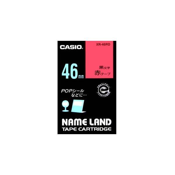 (まとめ) カシオ CASIO ネームランド NAME LAND スタンダードテープ 46mm×6m 赤/黒文字 XR-46RD 1個 〔×2セット〕