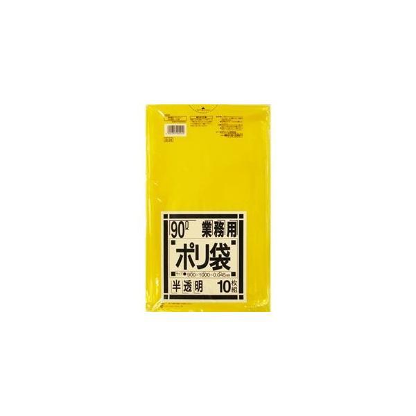 (まとめ) 日本サニパック 業務用ポリ袋 黄色半透明 90L G-24 1パック(10枚) 〔×10セット〕