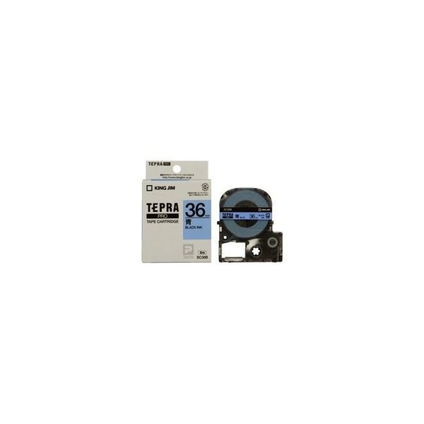 (業務用20セット) キングジム テプラPROテープ/ラベルライター用テープ 〔幅:36mm〕 SC36B 青に黒文字