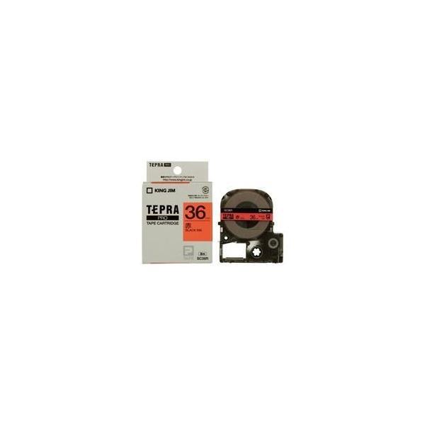 (業務用20セット) キングジム テプラPROテープ/ラベルライター用テープ 〔幅:36mm〕 SC36R 赤に黒文字