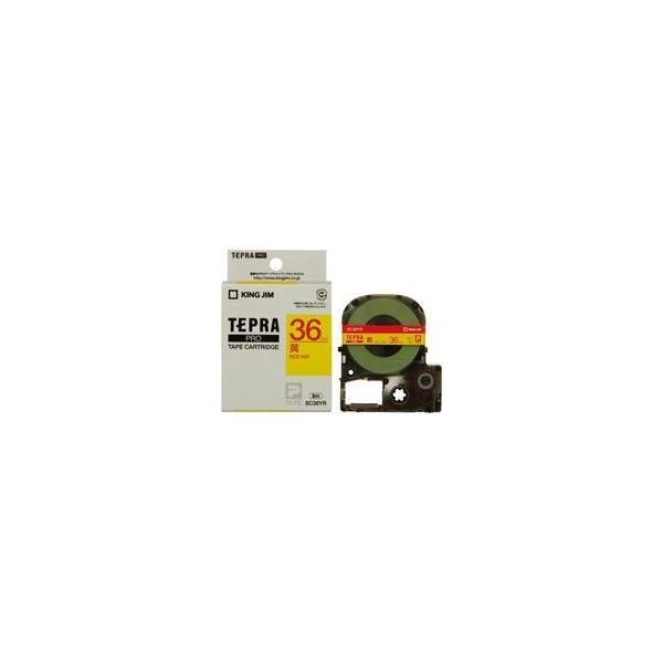(業務用20セット) キングジム テプラPROテープ/ラベルライター用テープ 〔幅:36mm〕 SC36YR 黄に赤文字