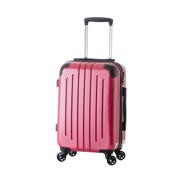 軽量スーツケース/キャリーバッグ 〔ピンク〕 61L 3.8kg ファスナー 大型キャスター TSAロック