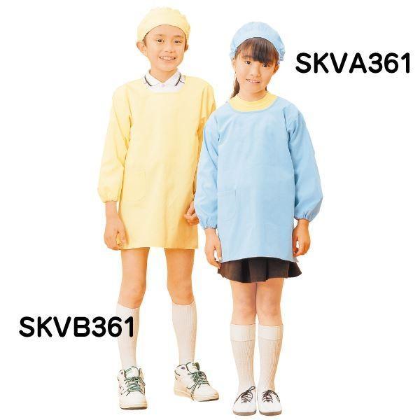 学童 給食着 〔割烹着型 ブルー 5号〕 着丈80cm 綿 ポリエステル 袖口ゴム 右腰ポケット 首後ゴム 腰マジックテープ調整付き SKVA361