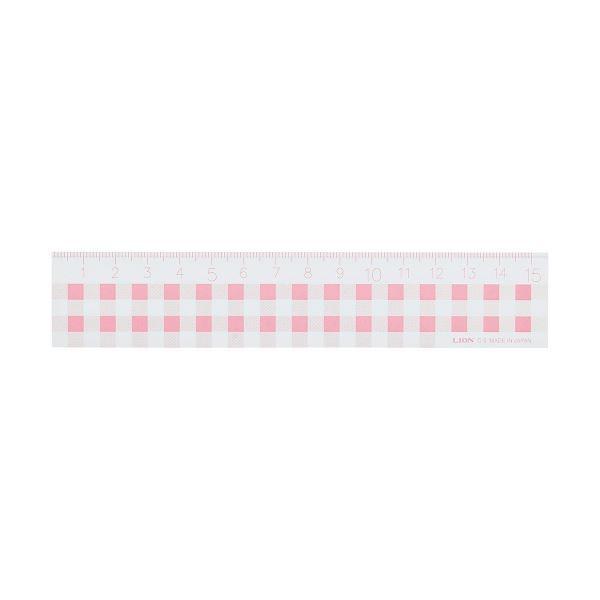 (まとめ)ライオン事務器 ギンガムチェック定規15cm ピンク C-5 1本〔×20セット〕