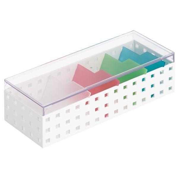 カードケース/名刺ボックス 〔幅10.5×奥行28×高さ8.3cm〕 仕切り付き ミックス 〔16個セット〕