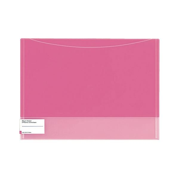 (まとめ)コクヨ クリヤーホルダー(2ポケットエンベロープ)A4 ピンク フ-5770P 1セット(5枚)〔×5セット〕