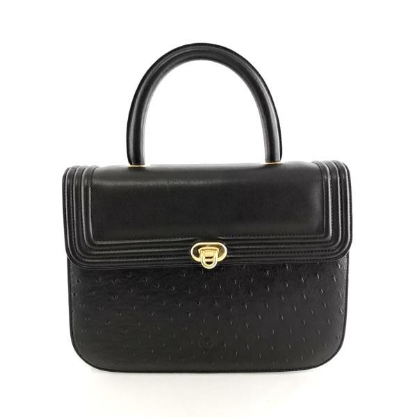 送料無料 ギラデリ gherardelli ハンドバッグ 鞄 レザー オーストリッチ 伊製 イタリア製 黒 ブラック系 レディース