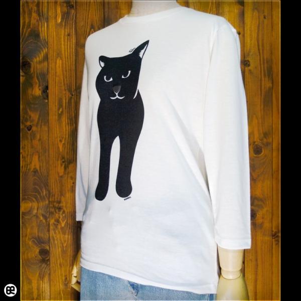 7分袖Tシャツ/メンズ/レディース/長袖/Tシャツ : Black Cat : オートミール|redbros|03