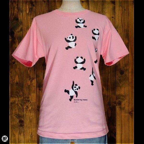 Tシャツ/メンズ/レディース/6.2oz半袖Tシャツ : のぼるパンダ : ピンク|redbros