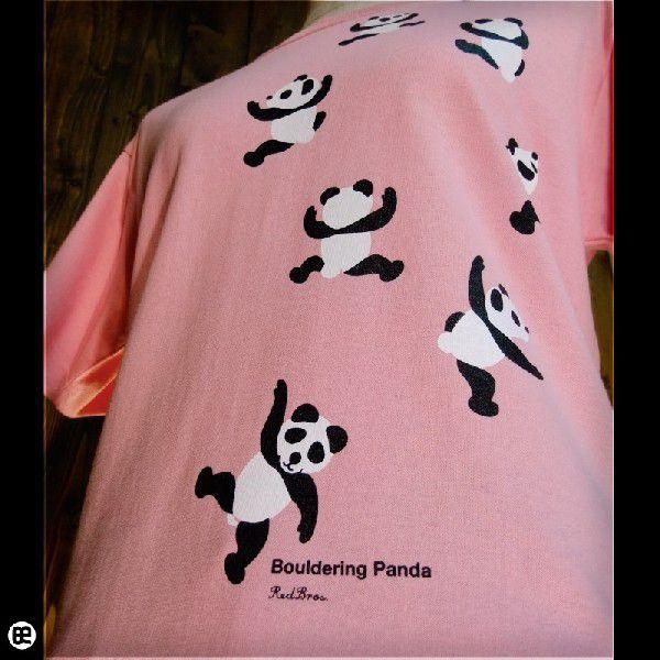 Tシャツ/メンズ/レディース/6.2oz半袖Tシャツ : のぼるパンダ : ピンク|redbros|04