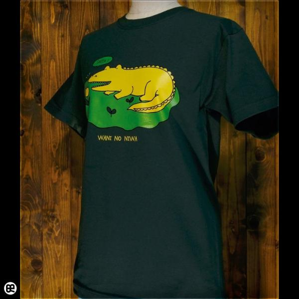 Tシャツ メンズ レディース 6.2oz半袖Tシャツ ワニのにわ フォレストグリーン redbros 03