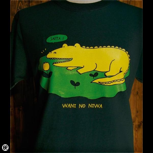 Tシャツ メンズ レディース 6.2oz半袖Tシャツ ワニのにわ フォレストグリーン redbros 04