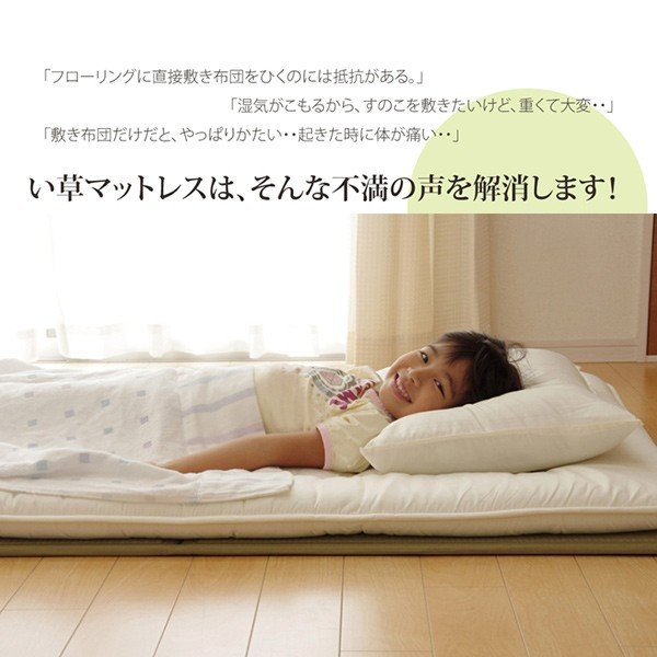 い草マットレス 敷きパッド ベッド用マット ダブルサイズ 寝ござ ひんやり 涼感 夏快適 涼しい 調湿 除湿  国産 い草 ベビーマット プレイマット|reech|02