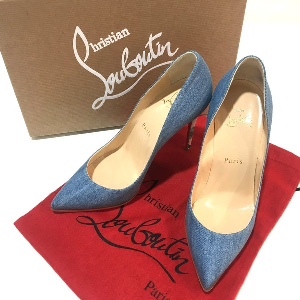 Christian Louboutin クリスチャンルブタン 1161141 ピガールフォリーズ 100  靴 Hawaii Heel パンプス ブルー レディース  新品同様【中古】