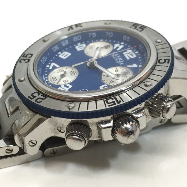HERMES エルメス CL2.317  クリッパー ダイバー クロノグラフ  腕時計 シルバー ボーイズ 【中古】