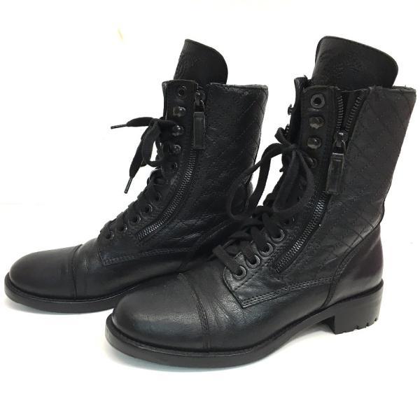 CHANEL シャネル G29324 キルティングレザー 15B ブーツ ブラック レディース 【中古】