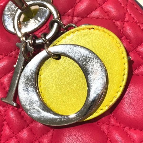 Christian Dior クリスチャンディオール カナージュ トリコロール レディディオール ハンドバッグ ピンク×ブルー×イエロー レディース