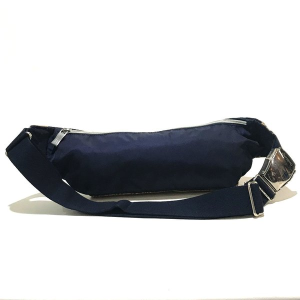 Orobianco オロビアンコ ロゴプレート クロコ型押し ヒップバッグ・ウエストバッグ ネイビー×ブラウン メンズ 【中古】