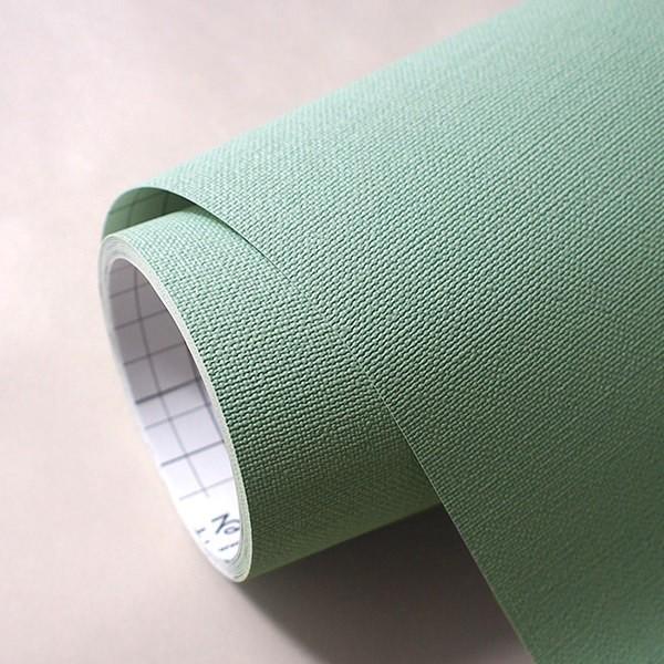 壁紙 シール壁紙 貼ってはがせる はがせる壁紙RILM 93cm幅オーダーカット 103 布地調の無地グリーン 返品・交換不可 reform-myhome 04