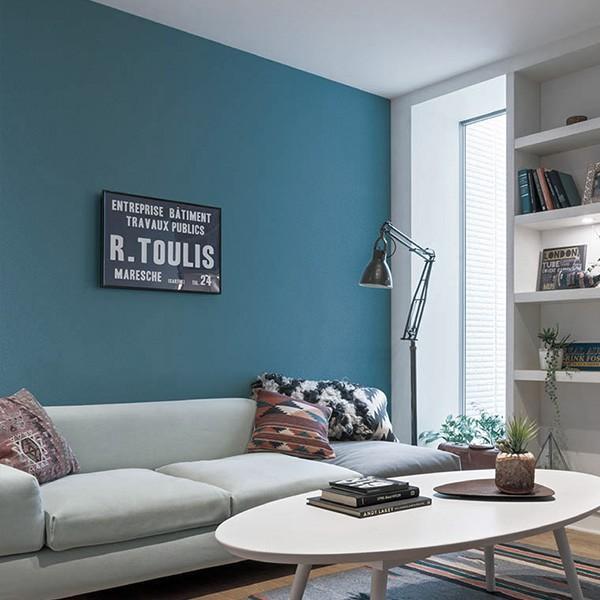壁紙 シール壁紙 貼ってはがせる はがせる壁紙RILM 93cm幅オーダーカット 153 漆喰調ストレートブルー 返品・交換不可|reform-myhome|02