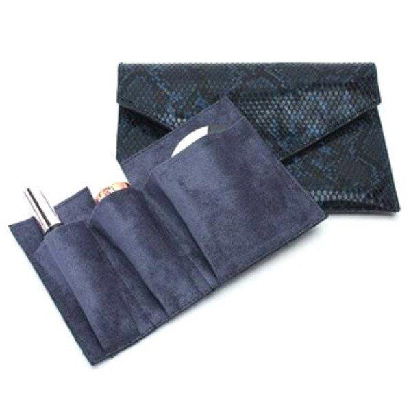 整理できるポケット付仕切りが付いたスネーククラッチバッグ/ダークピンク