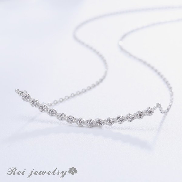 ネックレス レディース ライン カーブ バー シルバー CZ ダイヤモンド ジルコニア プレゼント ブランド |rei-official|02