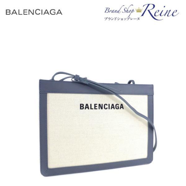 バレンシアガ(BALENCIAGA) NAVY POCHETTE ネイビー ポシェット ロゴ クラッチ ショルダー バッグ 339937 新品