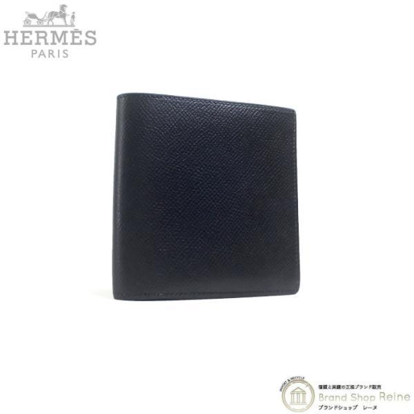 エルメス(HERMES)ヴィンテージヴォーエプソン〇Z刻ブラックコンパクト二つ折り財布メンズ希少品中古
