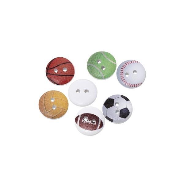 木のボタン200個【ウッドボタン】(スポーツ6種ボールプリント)15mm/ミックスアソート
