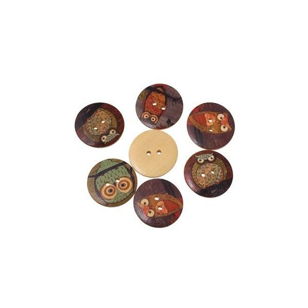 木製ボタン50個(ナチュラル地+ふくろうデザイン)ミックスカラーセット/クラフト材料手芸用品プリントボタン木のボタン(50個入)30mm