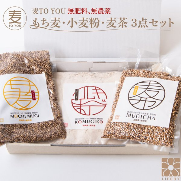 麦TOU YOU 国産 もち麦 小麦粉 むぎ茶 3点 セット 無農薬 全粒粉 ダイシモチ ミナミノカオリ 送料無料