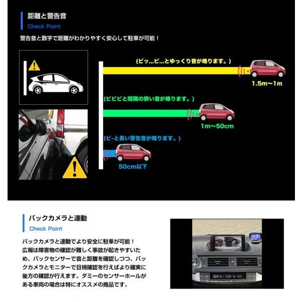 バックセンサー コーナー モニター付き クリアランスソナー リア 4個セット ブラック/ホワイト 黒/白 警告音 アラーム パーキングセンサー 送料無料 reiz 04
