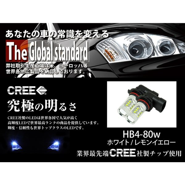 LEDフォグランプ HB4 CREE 80W 白/ホワイト 黄/イエロー LEDバルブ 送料無料|reiz|02