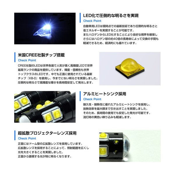 T10 T16 LED 50W ウェッジ球 ホワイト ポジション バックランプ スモール CREE 送料無料|reiz|03