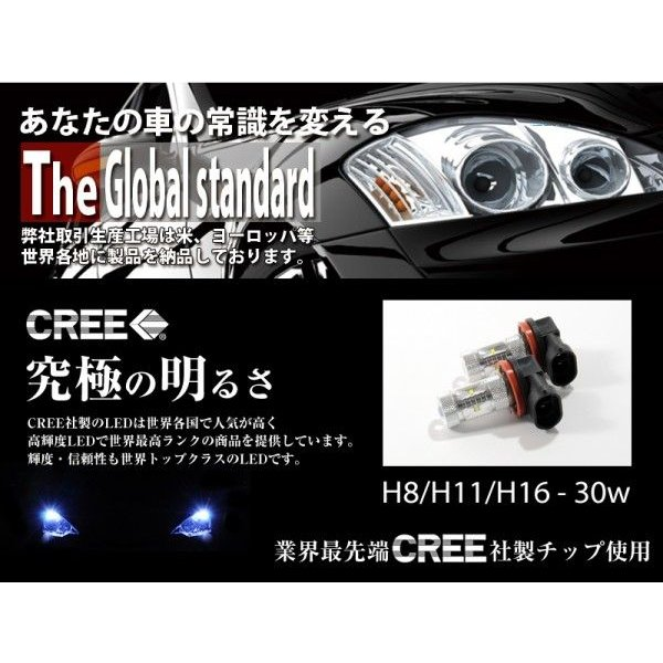 LEDフォグランプ H8/H11/H16 LED CREE 30W  白/ホワイト LED フォグランプ 送料無料|reiz|02