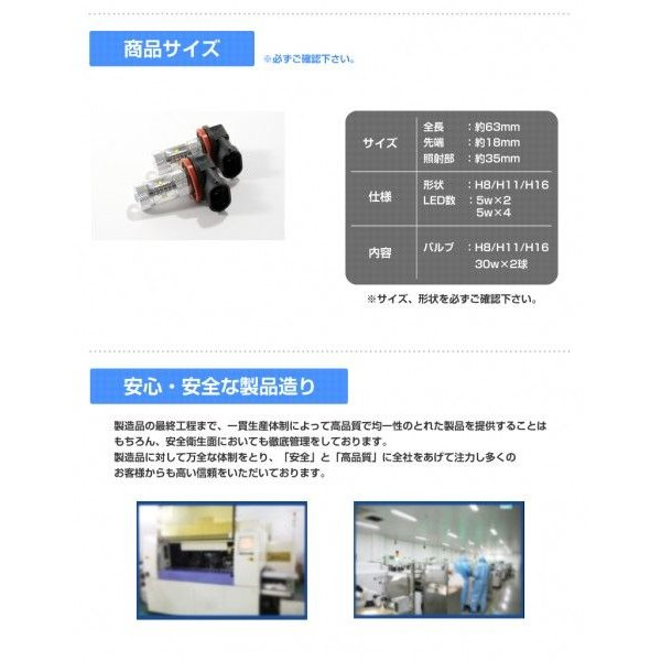 LEDフォグランプ H8/H11/H16 LED CREE 30W  白/ホワイト LED フォグランプ 送料無料|reiz|04