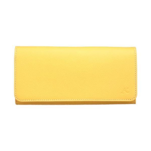 キタムラ 長財布キズが目立ちにくい型押しPH0450マスタード/アイボリーステッチ 黄色 43911