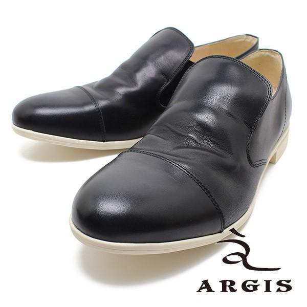 ARGIS アルジス 56116 ラバーソールストレートチップヴァンプシューズ ブラック メンズ レザー ニッポンメイド ストレートチップ 本革 日本製|relaaax