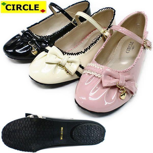 キッズ フォーマルシューズ CIRCLE KTU2331 リボン チャーム ジュニア フォーマル靴 用 入学式 卒業式 発表会 結婚式 ワンピースにぴったり 黒 kids