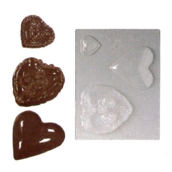 3ヶ取チョコレート型-ハート型 90-1602 240×182mm
