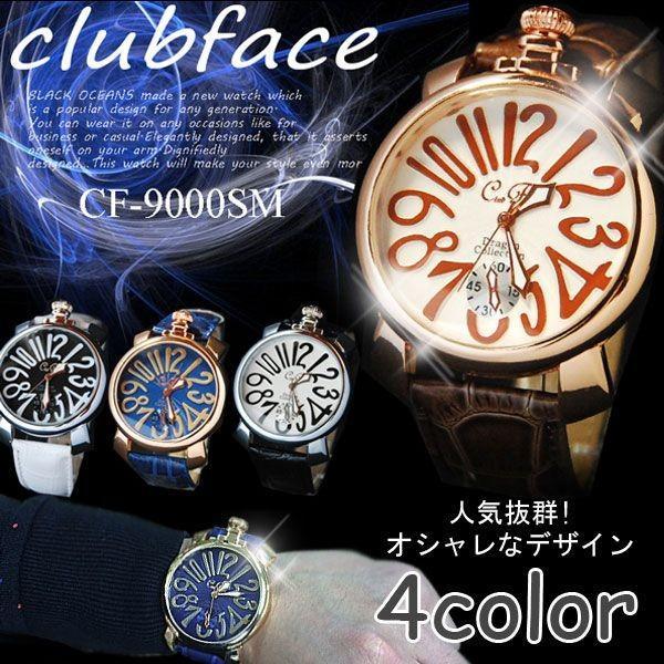 腕時計 メンズ クラブフェイス メンズ腕時計 革 CF-9000SM プレーンタイプ レビューを書いて送料無料 remake